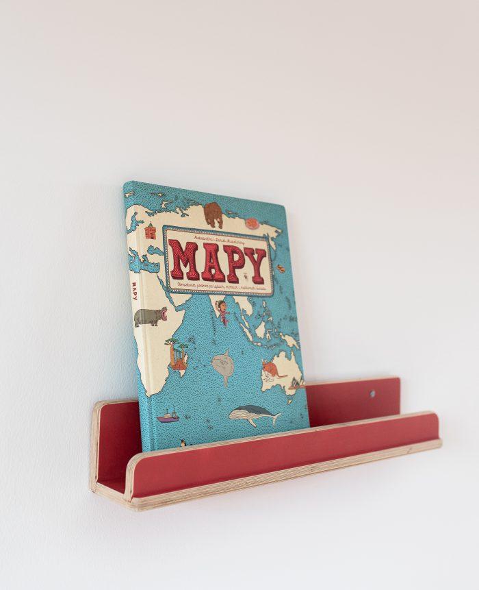 Mebelki edukacyjne dla dzieci ze sklejki kubi. Pólka z książką MAPY.